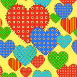 Seamless vector pattern with checkered hearts Stock Photos