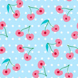 Seamless vector pattern with cherries Stock Image
