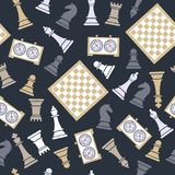 Seamless vector pattern with chess on dark bluu. Seamless vector pattern with chess. World international chess day stock illustration