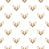 Seamless vector pattern with chihuahua. Dog head flat icon repeating background for textile design, wrapping paper, wallpaper or stock illustration