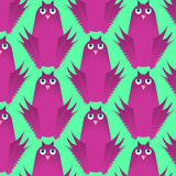 Seamless vector pattern, childlike cute flat design background with funny owl birds Stock Photos