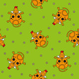 Seamless vector pattern for children. bull top view and chamomile on a green background. Royalty Free Stock Photo