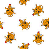 Seamless vector pattern for children. bull top view on a white background. Royalty Free Stock Photos