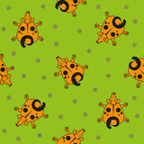 Seamless vector pattern for children. cartoon dog top view and chamomile on a green background. Royalty Free Stock Images