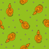 Seamless vector pattern for children. cartoon snake top view and chamomile on green background. Royalty Free Stock Photos