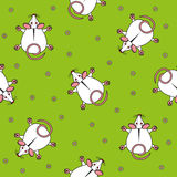 Seamless vector pattern for children. mouse top view and chamomile on a green background. Royalty Free Stock Photo