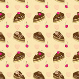 Seamless vector pattern with chocolate cakes Stock Photography