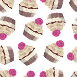 Seamless vector pattern of chocolate cakes Stock Images