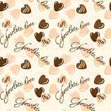 Seamless vector pattern with chocolate hearts Royalty Free Stock Images