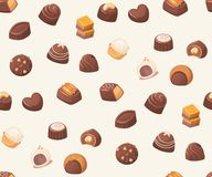 Seamless vector pattern with chocolate sweets on white background. Stock Photo