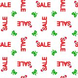 Seamless vector pattern Chrismas sale with red hat ande green ribbon on white background, EPS 10.  royalty free illustration