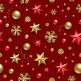 Seamless pattern. Christmas background with stars, beads, golden snowflakes, and glitter gold on a knitted red background stock illustration