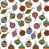 Seamless vector pattern with Christmas balls.  Winter llustration for modern designs. Royalty Free Stock Photos