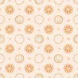 Seamless vector pattern with Christmas elements, clove and orange on shabby background. stock illustration