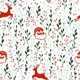 Seamless vector pattern with Christmas motif. Reindeer, Santa Claus and branches royalty free illustration