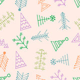 Seamless vector pattern with christmas tree. Stock Images