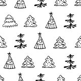 Seamless vector pattern with christmas tree. Hand drawn black and white endless background with fir tree Stock Photo