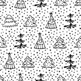 Seamless vector pattern with christmas tree. Hand drawn black and white endless background with fir tree and snow Stock Image