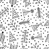 Seamless vector pattern with christmas tree and snowflakes. Royalty Free Stock Photo