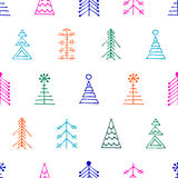 Seamless vector pattern with christmas tree and snowflakes Royalty Free Stock Photo