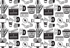 Seamless vector pattern of cinema objects Royalty Free Stock Images