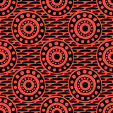 Seamless vector pattern with circles, dots and strokes. Black and red abstract background with drawn elements and ornamental symbols. Decorative repeating Stock Photography