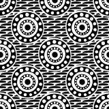 Seamless vector pattern with circles, dots and strokes. Black and white abstract background with drawn elements and ornamental symbols. Decorative repeating Stock Photos