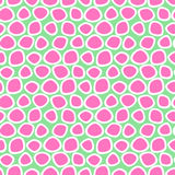 Seamless vector pattern with circles. Green and pink abstract background with hand drawn elements. Royalty Free Stock Images