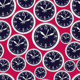 Seamless vector pattern with clocks, wake up idea. Simple timers Royalty Free Stock Photos