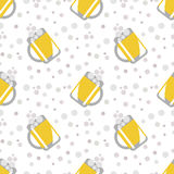 Seamless vector pattern with closeup beer glasses and bubbles on the white background. Royalty Free Stock Image