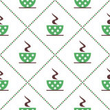Seamless vector pattern with closeup green coffee cups with dots and grains on the white background. Stock Images