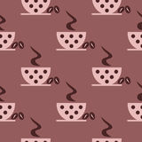 Seamless vector pattern with closeup pink coffee cups with dots and grains on the brown background. Series of Food and Drink Seamless Patterns Royalty Free Stock Images