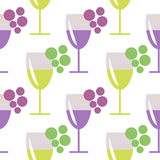 Seamless vector pattern with closeup wineglasses with red and white wine, and bunches of grape on the grey background. Royalty Free Stock Image