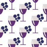 Seamless vector pattern with closeup wineglasses with red wine and bunches of grape on the white background. Royalty Free Stock Photos