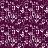 Seamless vector pattern with cocktails Royalty Free Stock Image