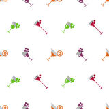 Seamless vector pattern with cocktails, wine, cherries, oranges and grape on the white background. Stock Photography