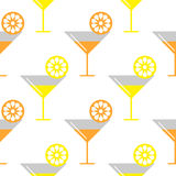 Seamless vector pattern with coctails and orange, lemons slices on the white background Stock Images