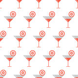 Seamless vector pattern with coctails and orange slices on the white background Stock Photos