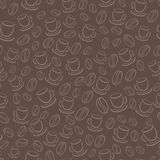 Seamless vector pattern with coffee beans and cups. Seamless vector brown pattern with coffee beans and cups Stock Photos