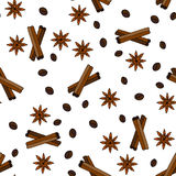 Seamless vector pattern with coffee grains, cinnamon sticks and stars anise. Royalty Free Stock Photography