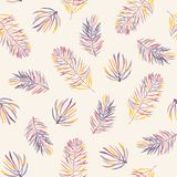 Seamless vector pattern with coloful pine branches in autumn gentle colors. stock photo