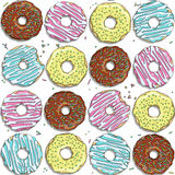 Seamless vector pattern with color donuts. EPS10 Royalty Free Stock Photos