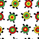 Seamless vector pattern. Color turtles rastamanka. Isolated on a transparent background stock photography