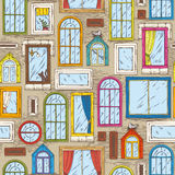 Seamless Vector Pattern with Color Windows Royalty Free Stock Photos