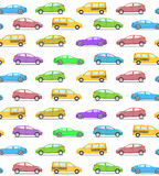 Seamless vector pattern with colored cars, flat style. Sedan or. Supercar, hatchback or family car and yellow taxi. Vector illustration Royalty Free Stock Image