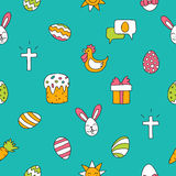 Seamless vector pattern of colored Easter icons. On blue background Royalty Free Stock Photo