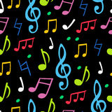 Seamless vector pattern of the colored musical notes Stock Images