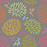 Seamless vector pattern colorful algae and plants Stock Photography