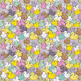 Seamless vector pattern with colorful baby ducks Royalty Free Stock Photo