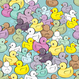 Seamless vector pattern with colorful baby ducks Royalty Free Stock Photos